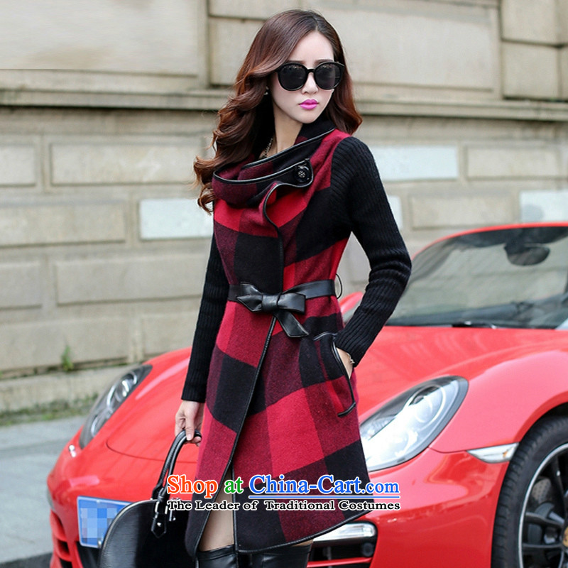 Load the autumn 2015 has sin new grid cloak? jacket female Korea gross version long large Sau San? material coats tn811 female Red, M