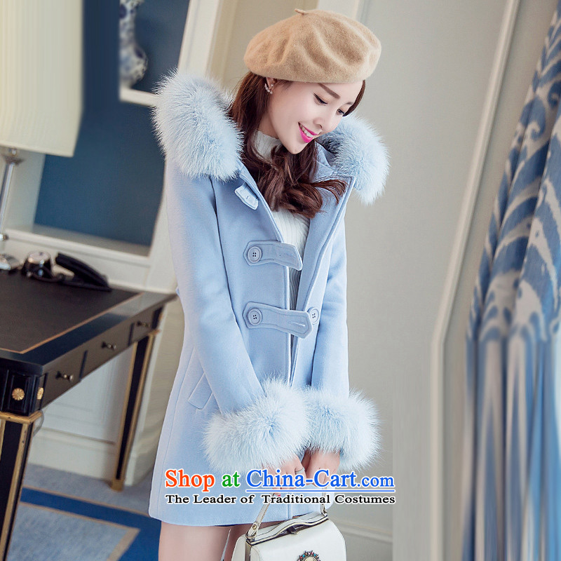 Sin hasnew winter 2015 stylish temperament in Sau San video thin long warm Korean Nagymaros collar single row clip hair girltn15110505blue coat?L