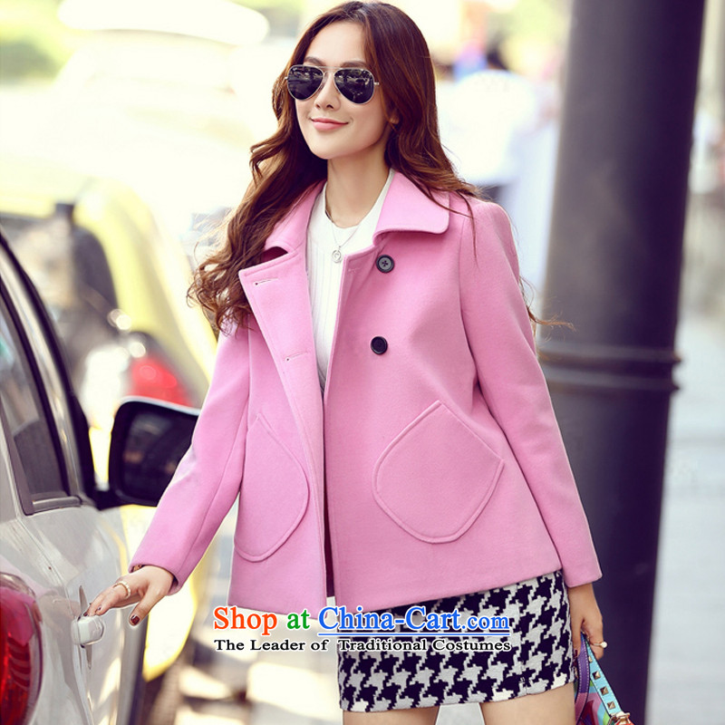 Sin has  new winter 2015 stylish look of Sau San video thin solid-colored short of Korean lapel of double-coats female tn15111101 gross?  pink M