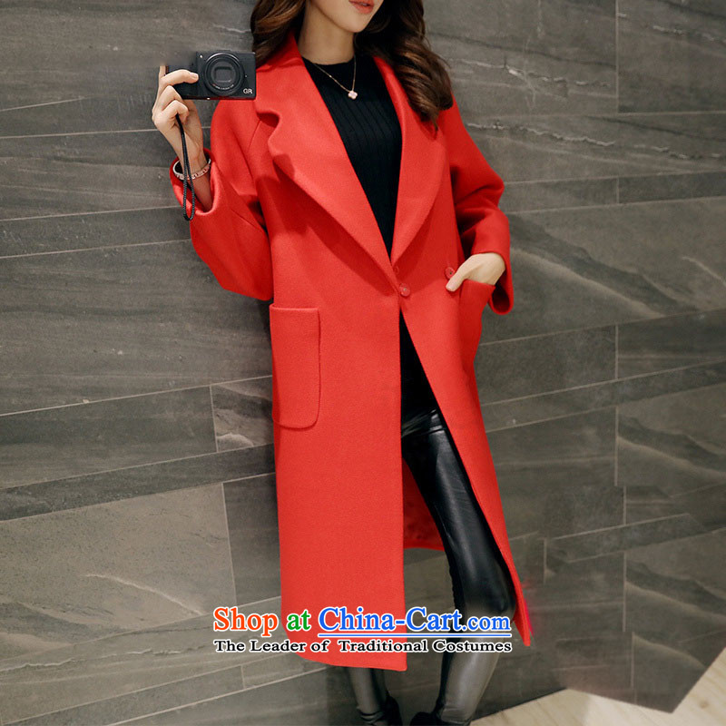 Sin has?new winter 2015 stylish look of Sau San video thin warm relaxd trend in long lapel Korean female?tn15110516 gross? coats?RED?M