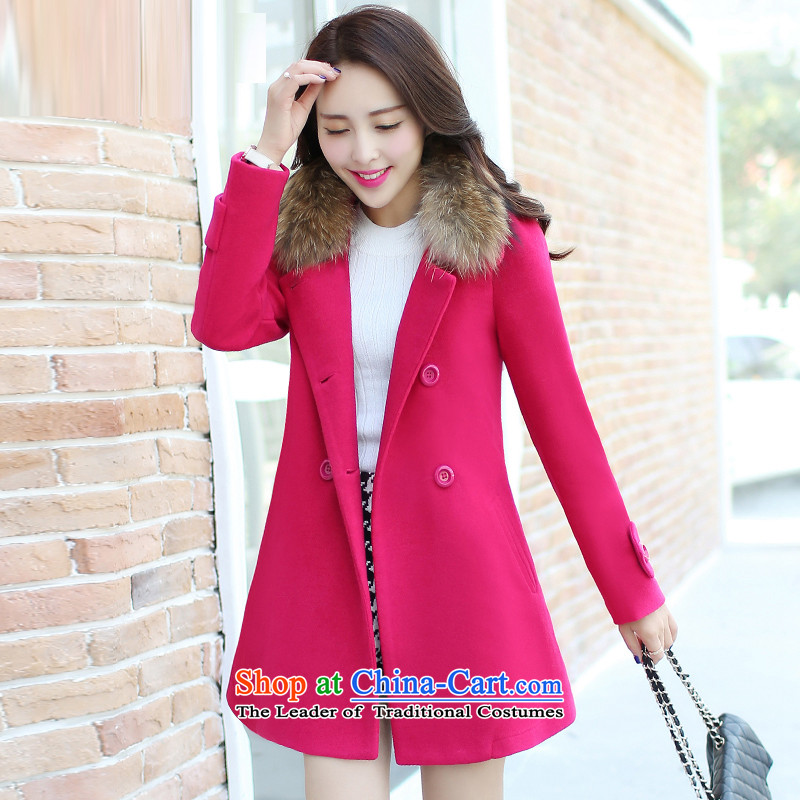 Sin has 2015 winter clothing new large Korean long in Sau San double-gross for a wool coat燚15110201燽etter red thicker version燤