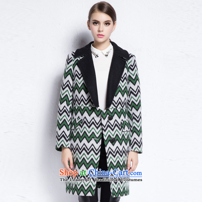 Arts _yiman Overgrown Tomb_ Green _ multi-color personalized lapel long coats Y867B4530C68 in XL