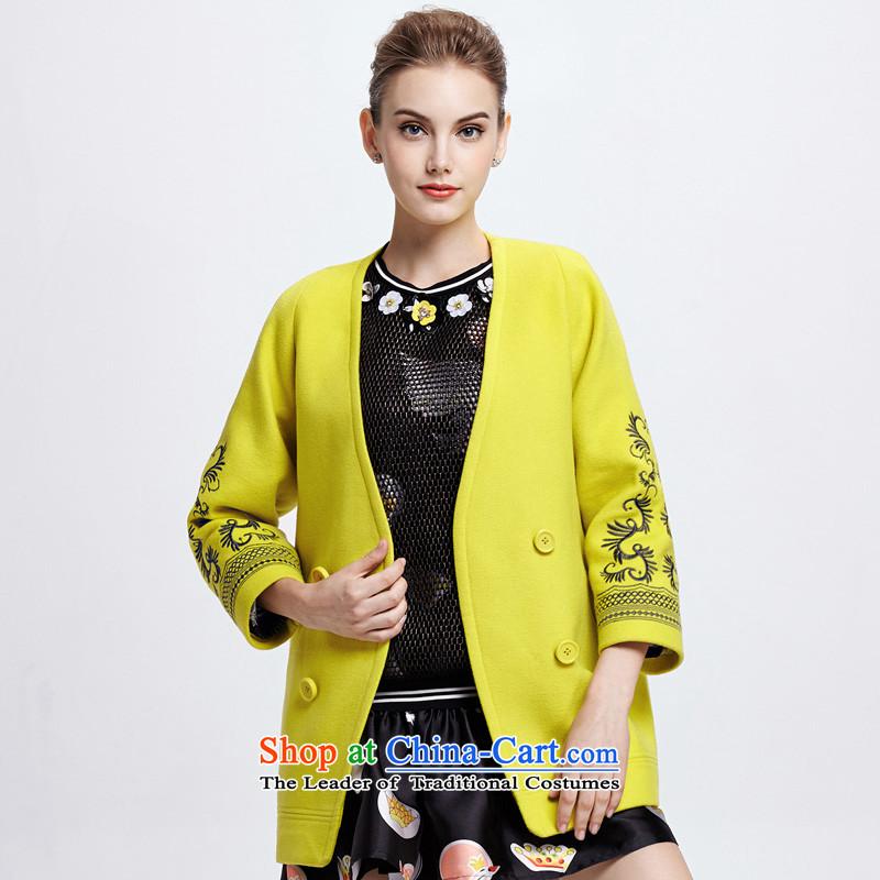 Chaplain Mai-mai _CHIU SHUI_ romantic embroidery jacquard overcoat yellow _L 644112157