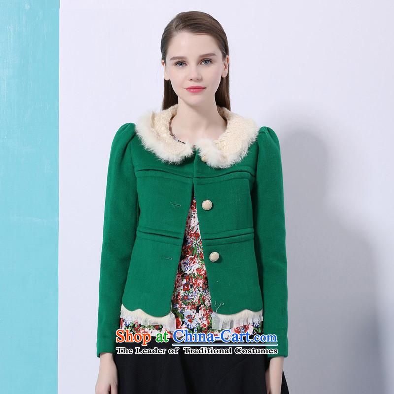Chaplain Mai-mai _CHIU SHUI_ Sweet Korean short fleece? For coats rabbit hair jacket?1342F120212 bright green _M
