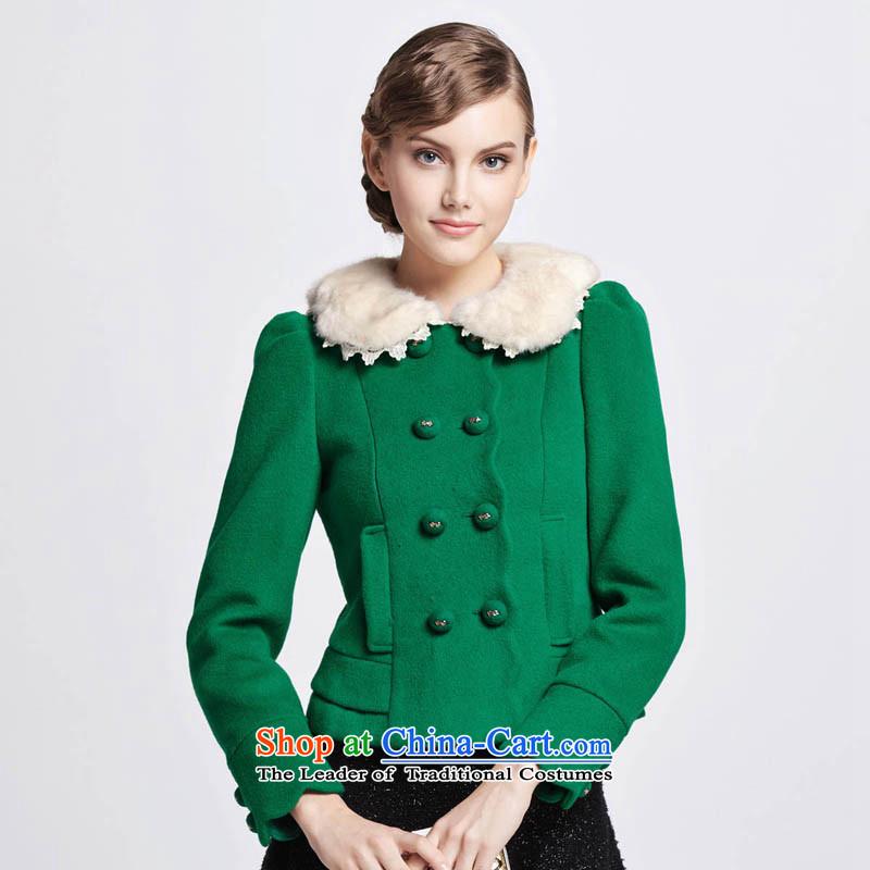 Chaplain Mai-mai _CHIU SHUI_ can be shirked gross collar short bright green _XXL 1341F120202 Coats