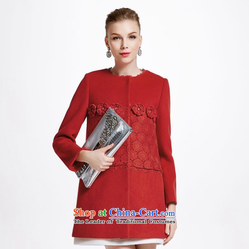 Chaplain Mai-mai _CHIU SHUI_ for winter new women lace stereo flower stitching Stylish coat 644112159B Sau San? red_L