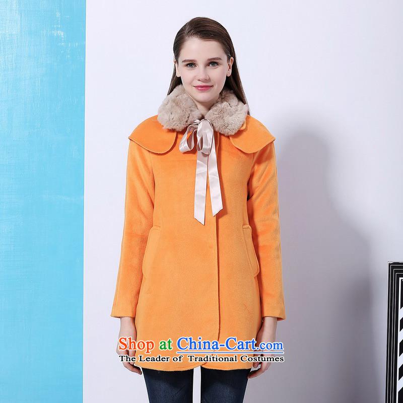 Chaplain Mai-mai (CHIU SHUI) rabbit hair for a transition in the long coats Orange /L 1341F121203