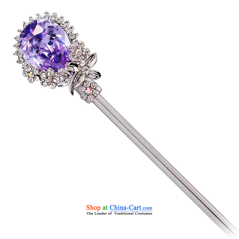 Wen Nei Ornate Kanzashi sea kanzashi sub-head hair accessories accessories classical style of the ancient classical and elegant reminiscent of the flower of the emulation of the head of the crystal tray shook the most step Gee Qi Yuan Silver Purple