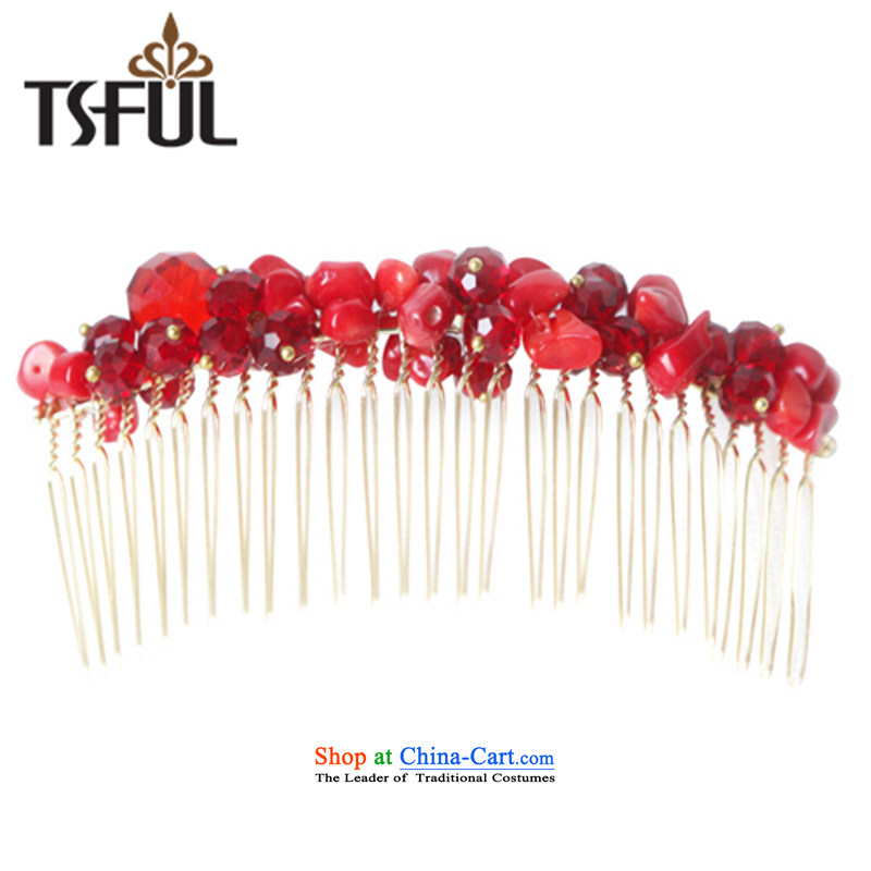 Tsful passion for art Chaesok Disk Brush Hair Decorations-comb the clip of Korean Chinese red