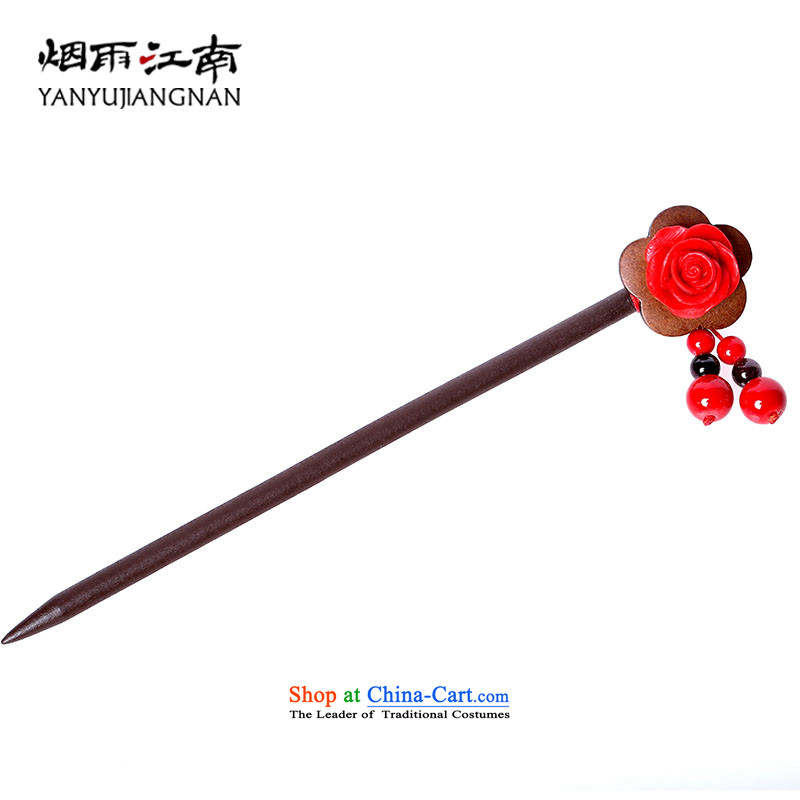 Gangnam-gu rainy headdress edging Ornate Kanzashi step, Ornate Kanzashi sub most manually China wind national arts of wood craftwork flower red peony flowers