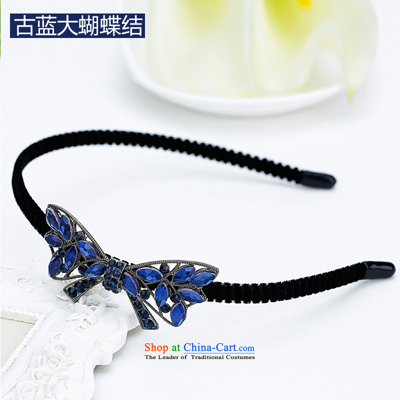 Mrs. Chang was adorned with antique flower and hairbands card drill of water pressure and clamp clamp Head Ornaments clip C027 ancient blue large bow tie