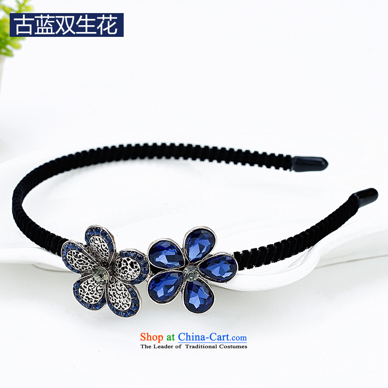 Mrs. Chang was adorned with antique flower and hairbands card drill of water pressure and clamp clamp Head Ornaments clip C027 ancient blue twin flower