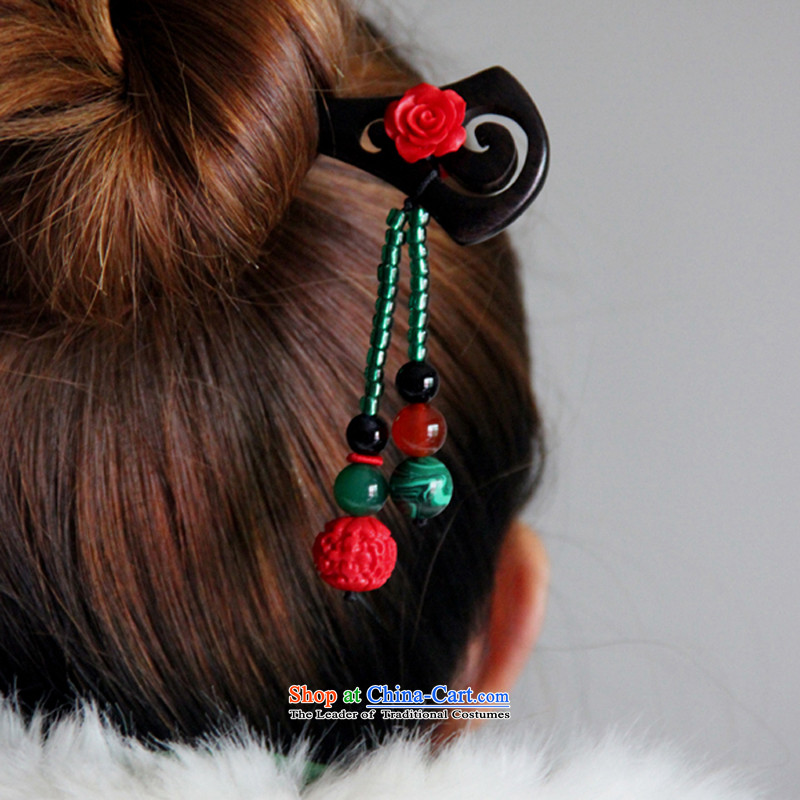 Hanata for classical China wind ebony kanzashi sub-step, Retro manually ethnic Ornate Kanzashi disk sent the most ancient headdress costume Han-qipao Equipped