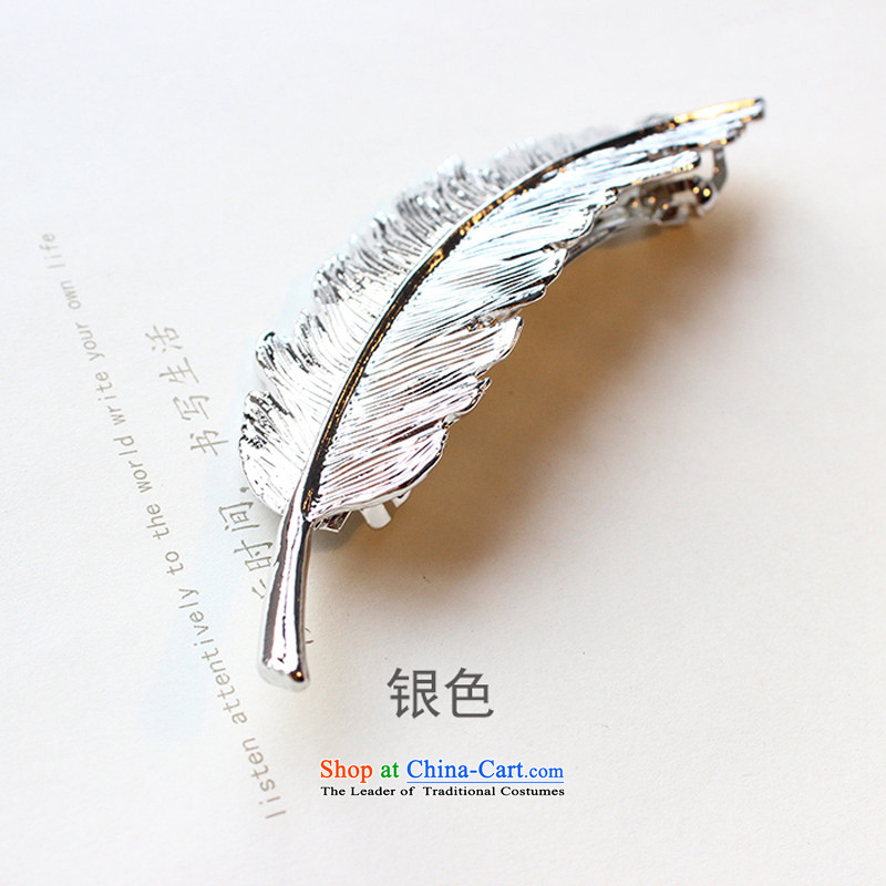 The beautiful princess Korean retro leaves feather hairclips personality bronze silver electroplating gookin ancient spring clip Edge Clips Liu Hai folder Folder 1# Old Ma Mei Silver