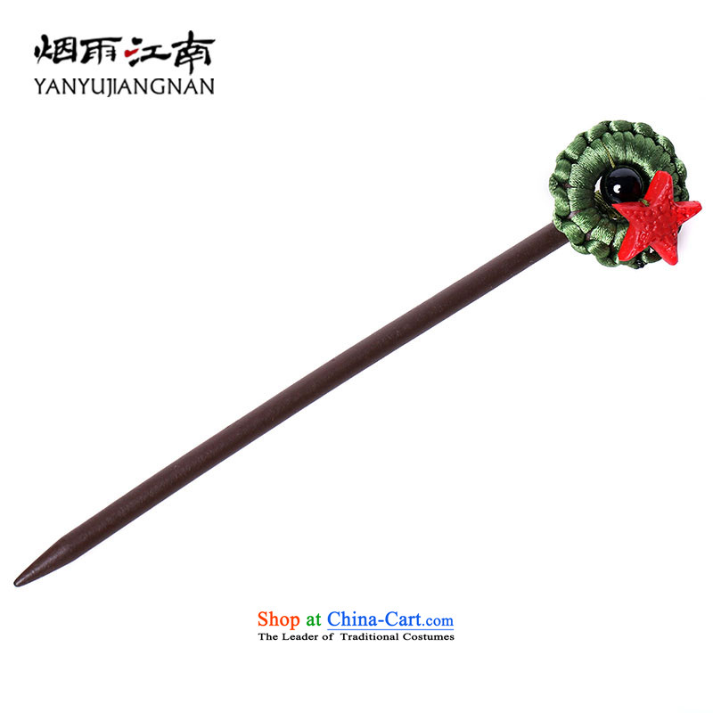 Gangnam-gu rainy wood from the game by Ornate Kanzashi black paint carving arts van agate China wind ornaments total length 15 cm5 mm thick