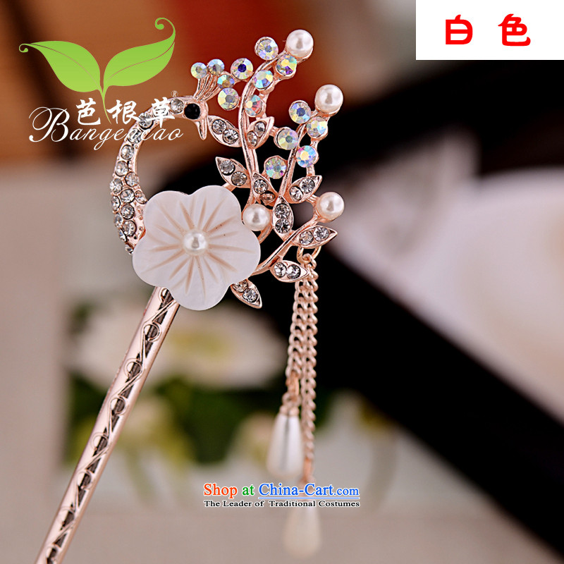 Barbara grass was adorned with ancient Head Ornaments by Ornate Kanzashi classical edging kanzashi sub-step, the ancient style of Korean women BGC-1205 disk sent White