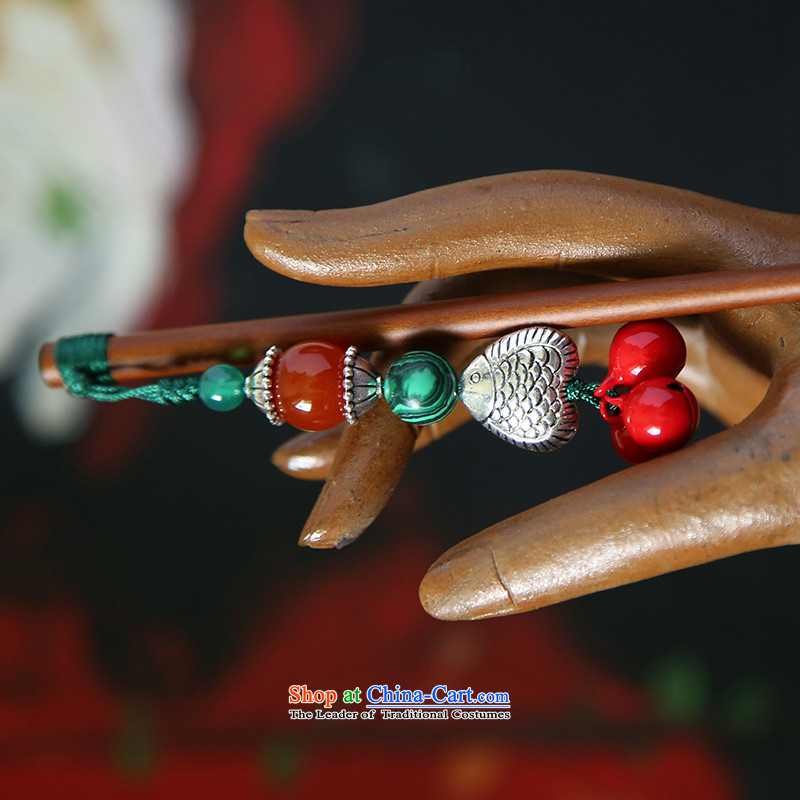 Hanata manually for retro ethnic kanzashi sub-China wind red bell cute little step by Ornate Kanzashi rock agate ancient Silver Fish_
