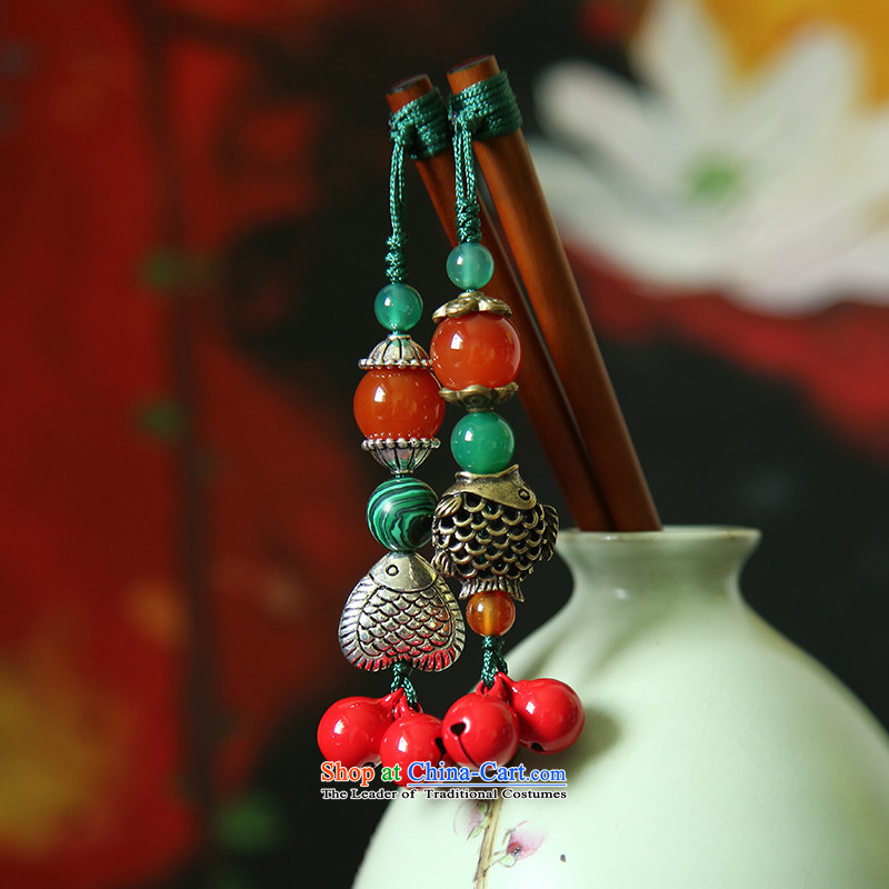 Hanata manually for retro ethnic kanzashi sub-China wind red bell cute fish agate, Retro Hair Ornaments step, fish