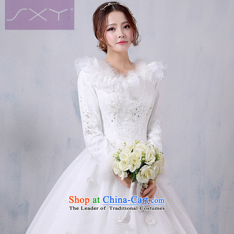 Winter wedding dresses 2015 new Korean brides long-sleeved to align the winter thick winter wedding video pregnant women thin yarn?XL
