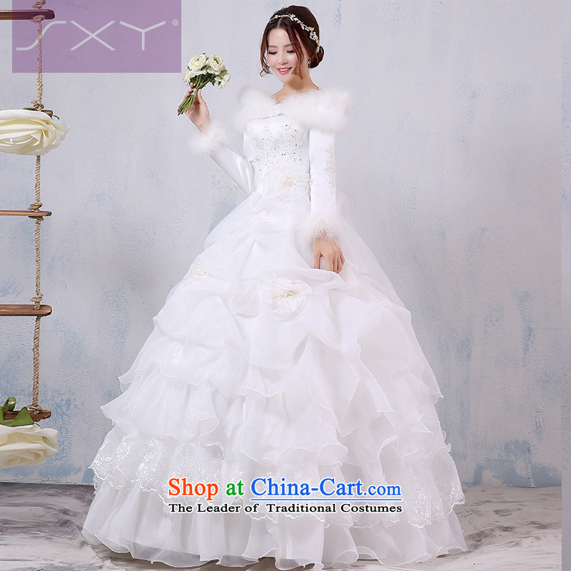Winter wedding dresses 2015 Winter, new long-sleeved winter winter clothing marriages warm thick cotton word plus shoulder wedding?M
