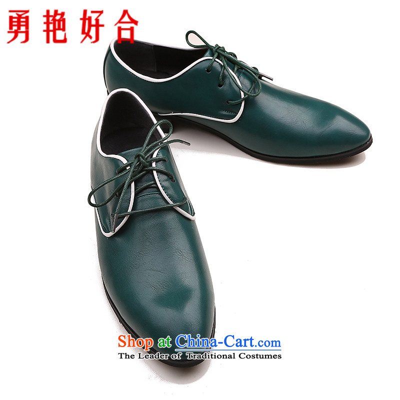 Yong-yeon and men shoes point strap shoes are being installed shoes for autumn and winter business English Korean men shoes Blue 40