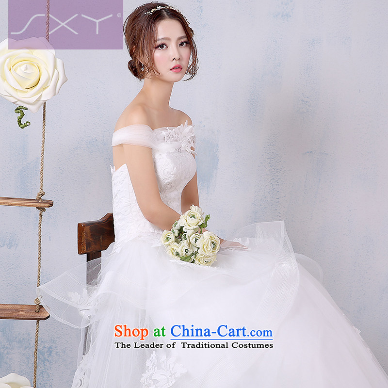 Wedding dress 2015 new Korean version of the word to align the shoulder larger marriages wedding winter video thin winter�XL