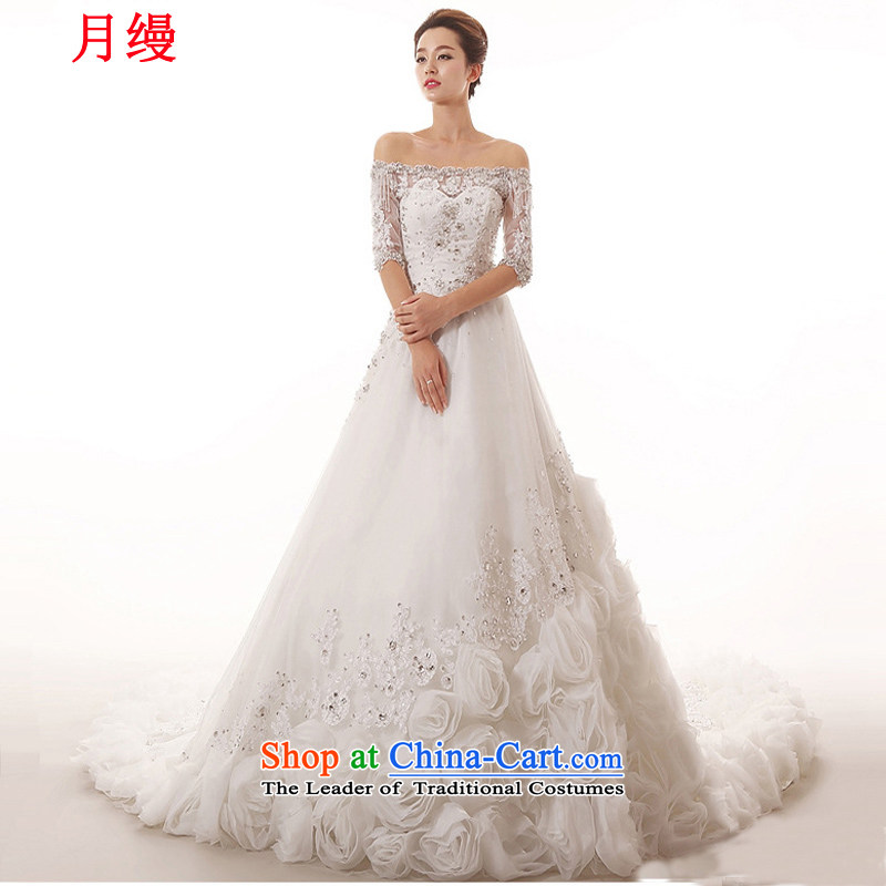 As wedding dresses, 2015 new word in the cuff to align the shoulder stereo flowers long tail lace Sau San Video 1.5 m thin tail size not returning to contact Customer Service