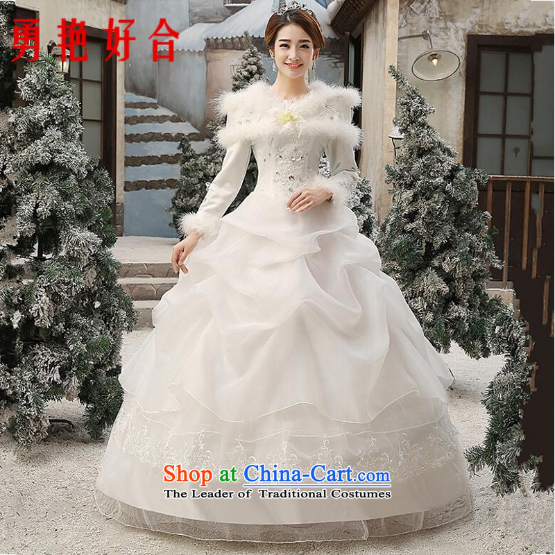 Yong-yeon and�2015 NEW GRAPHICS thin winter wedding dress white long-sleeved cotton plus winter autumn and winter for the Korean version of the winter gross) made no size White Replacement