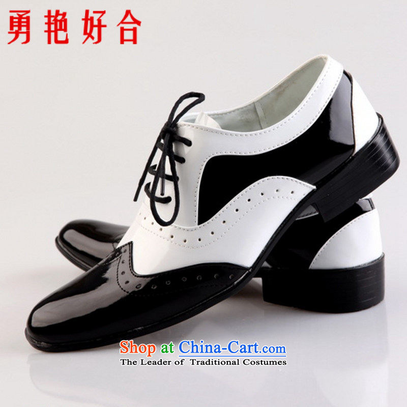 Yong-yeon and handsome point wedding photography men business professional Korean daily leisure shoes bridegroom marriage of men's single shoe shoes black and white 40