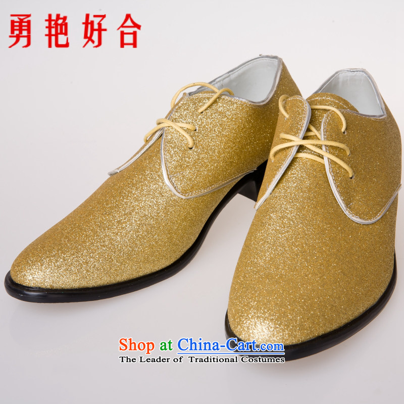 Yong-yeon and men's England personality trend points shoes barber wedding snapshot euro version wild Korean hip trendy fashion wild male and Golden Shoe�XL