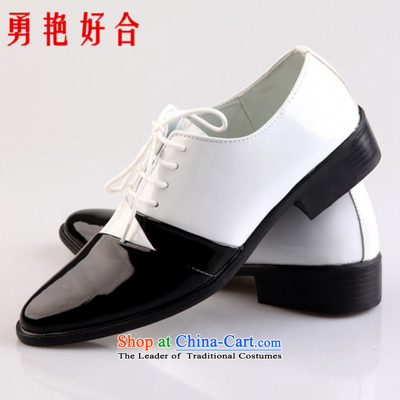 Yong-yeon and handsome point wedding photography men business professional Korean daily leisure shoes bridegroom marriage shoes black and white�41