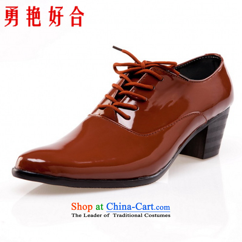 Yong-yeon and handsome point wedding photography men business professional Korean daily leisure shoes bridegroom marriage shoes brown�41
