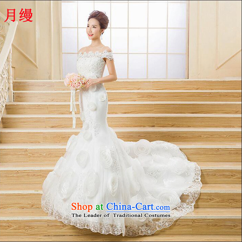 The following new paragraph on 2015 autumn and winter wedding a field your shoulders with chest crowsfoot graphics skinny tail stereo flowers diamond lace White�XXL