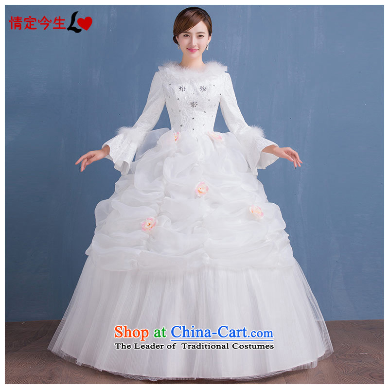 Love of the overcharged� by 2015 new autumn and winter wedding dress marriage elegant round-neck collar long-sleeved) field shoulder gross cotton lapel wedding wedding dress female White�XL