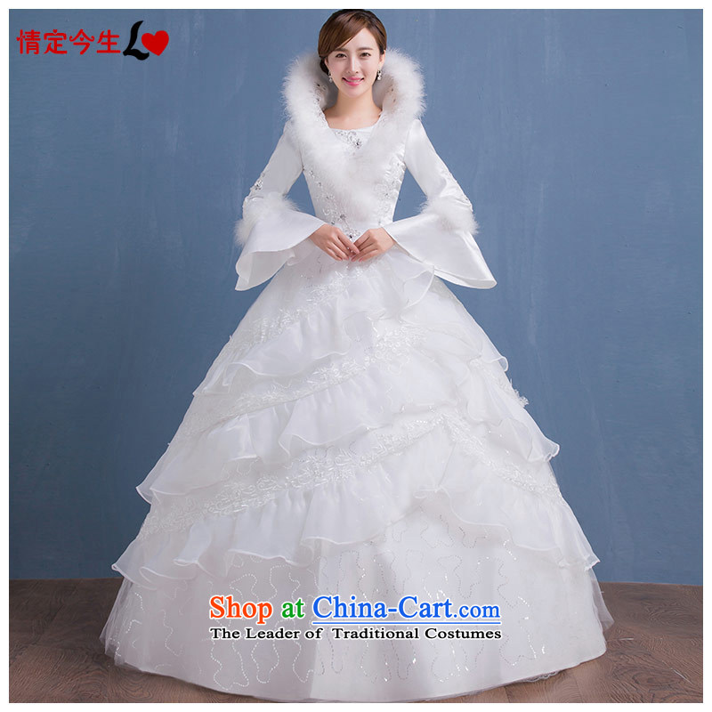 Love Of The Life of� autumn and winter 2015 wedding dresses a long-sleeved folder field shoulder for the winter of cotton wool diamond wedding video thin wedding dress female White�XL