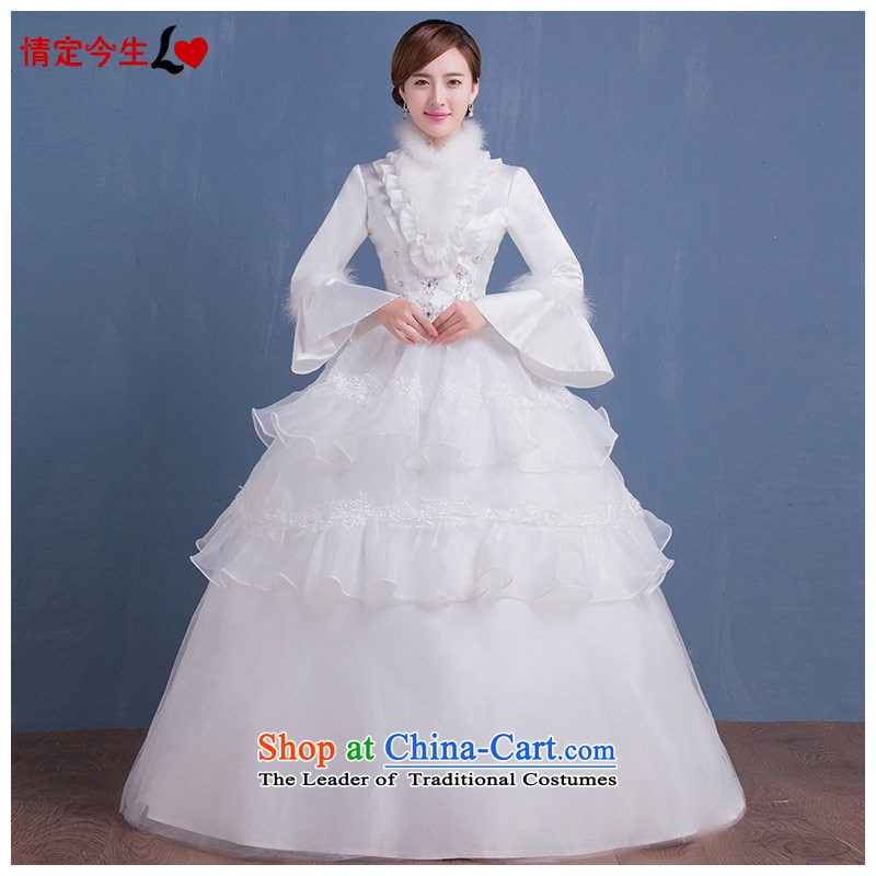 Love of the overcharged?by 2015 new long-sleeved autumn and winter thick hair collar align to large thin graphics Korean brides wedding dress wedding female white?L