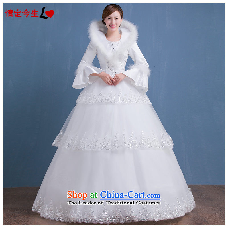 Love of the overcharged by 2015 new winter wedding long-sleeved thick autumn straps Korean brides wedding dress to align the wedding female white tailor-made exclusively concept