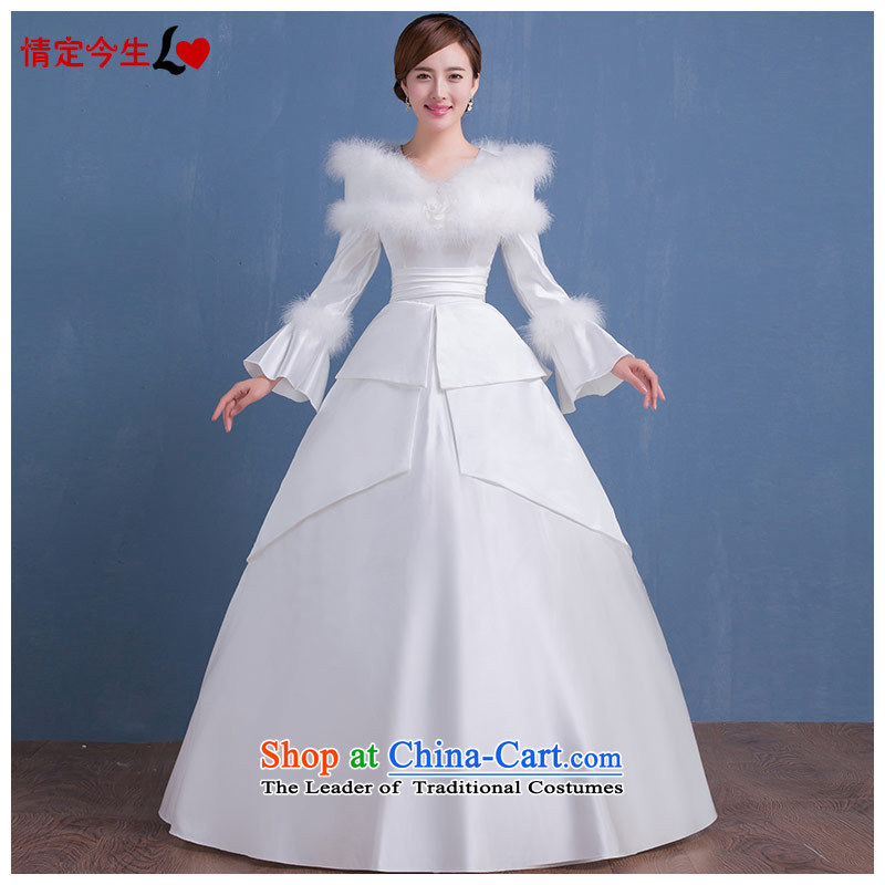 Love Of The Life of?autumn and winter 2015 new long-sleeved slotted shoulder thick cotton wool for the winter wedding dresses larger align to bind with white?L