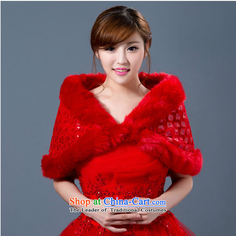 The bride accessories 2015 new autumn and winter wedding dresses shawl jacket short, warm Thick Red Shawl red are code gross
