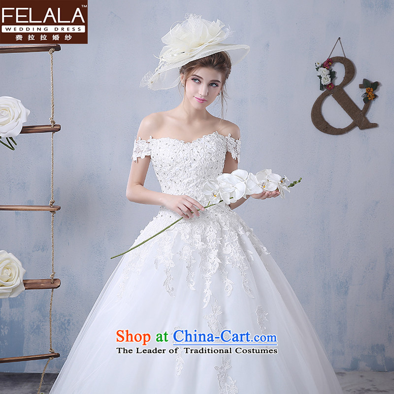 Ferrara?2015 new word shoulder length tail wedding dresses Korean lace minimalist hunsha bride Sau San larger female?XL(2 feet 2)