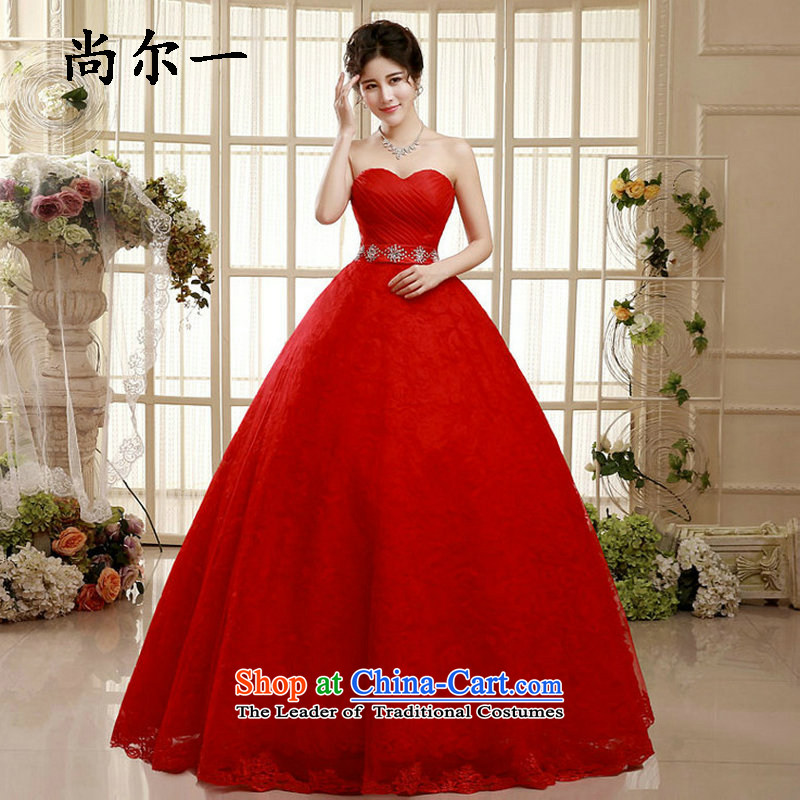 Yet, a wedding dress autumn 2015 new marriages lace Princess Korean style graphics large thin red wedding winter xs5881 red�S