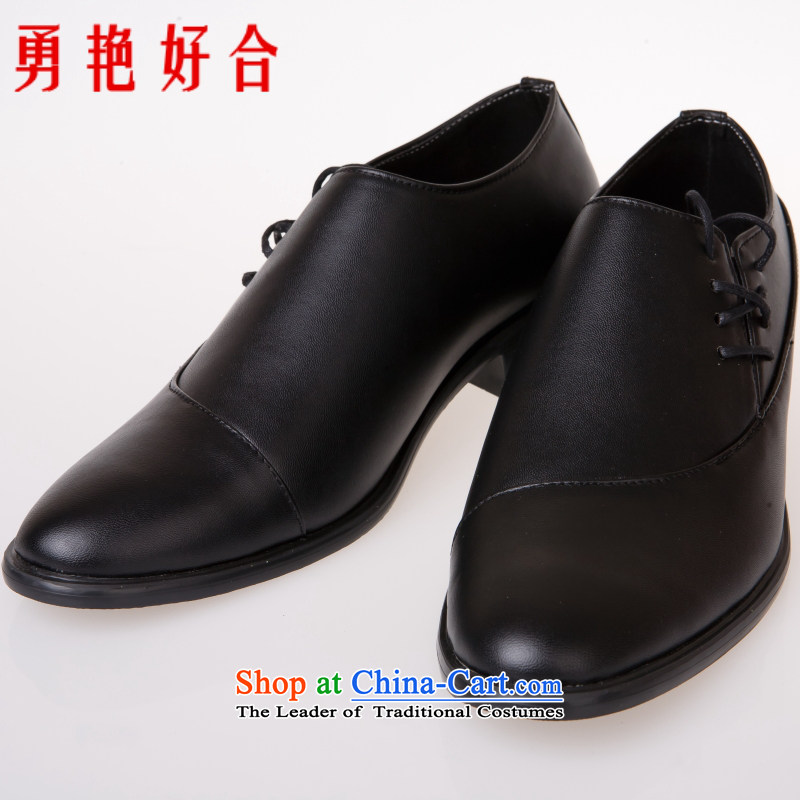 Yong-yeon and handsome wedding photography men business professional Korean daily leisure shoes groom men single shoes marriage black�43