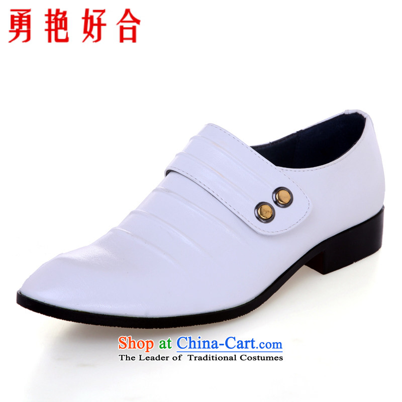 Yong-yeon and handsome wedding photography men business professional Korean daily leisure shoes bridegroom marriage of men's single shoe white shoes?43