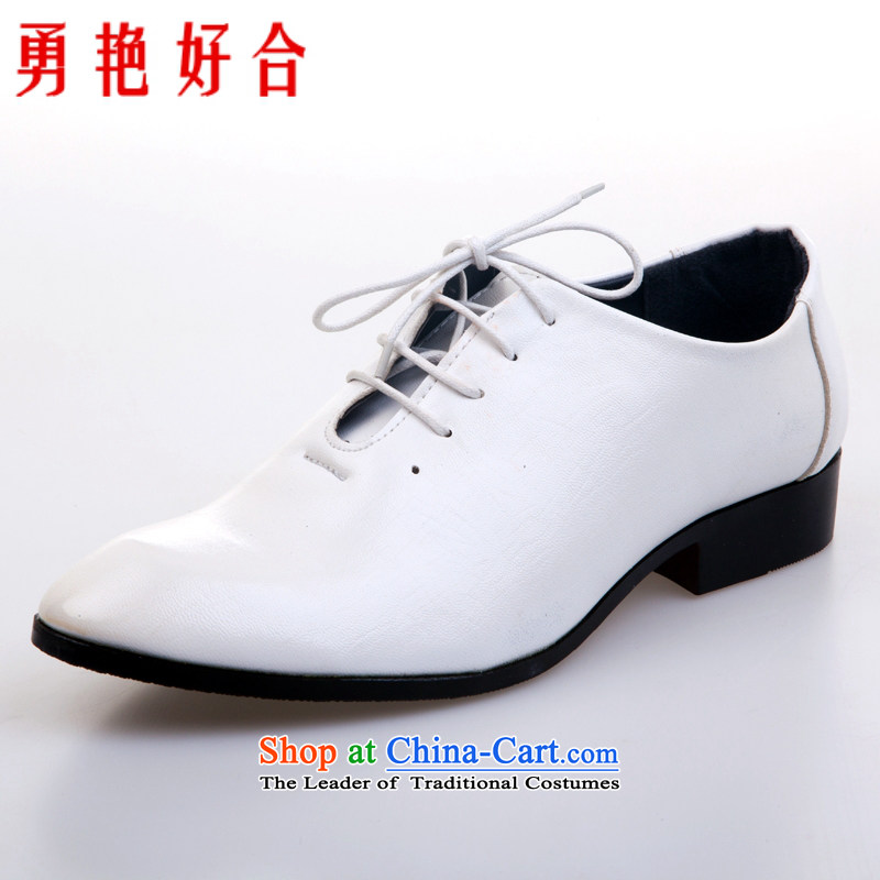 Yong-yeon and handsome wedding photography men business professional Korean daily leisure shoes bridegroom marriage of men's single shoe white shoes?44