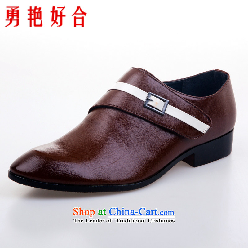 Yong-yeon and handsome wedding photography men business professional Korean daily leisure shoes bridegroom marriage of men's single shoe brown shoes�43