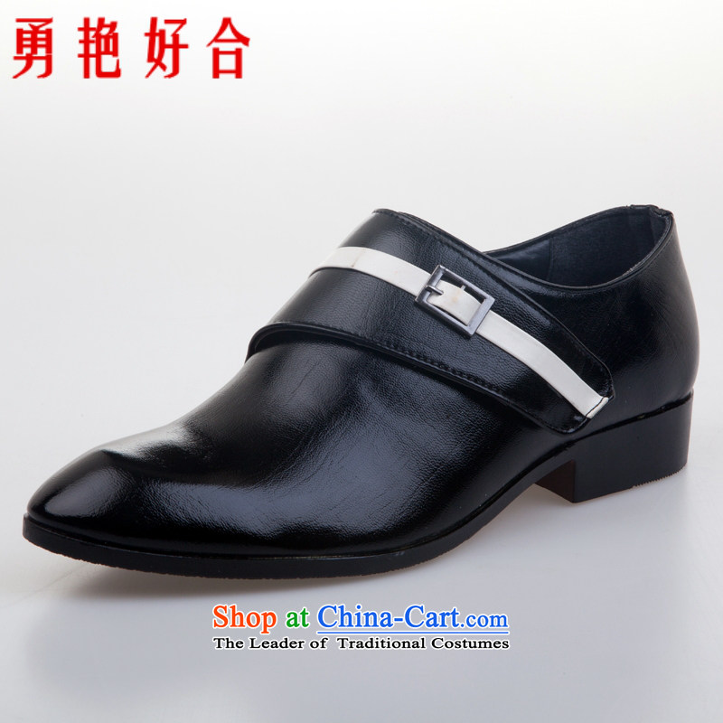 Yong-yeon and handsome wedding photography men business professional Korean daily leisure shoes groom men single shoes marriage black聽44