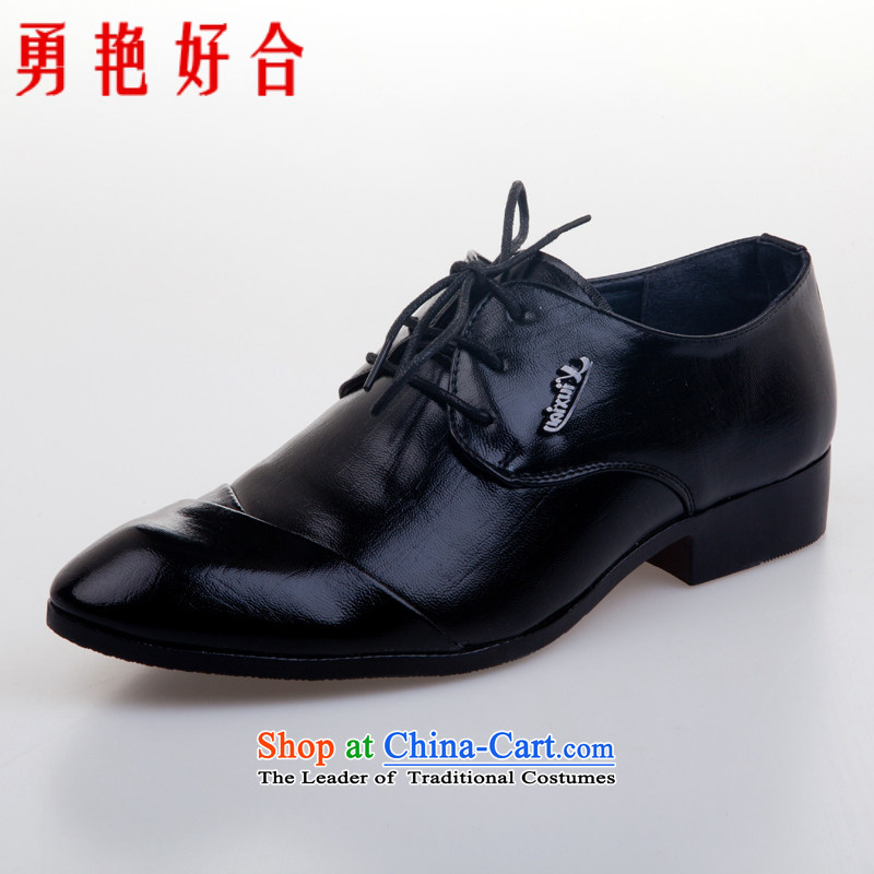 Yong-yeon and handsome wedding photography men business professional Korean daily leisure shoes groom men single shoes marriage black�41