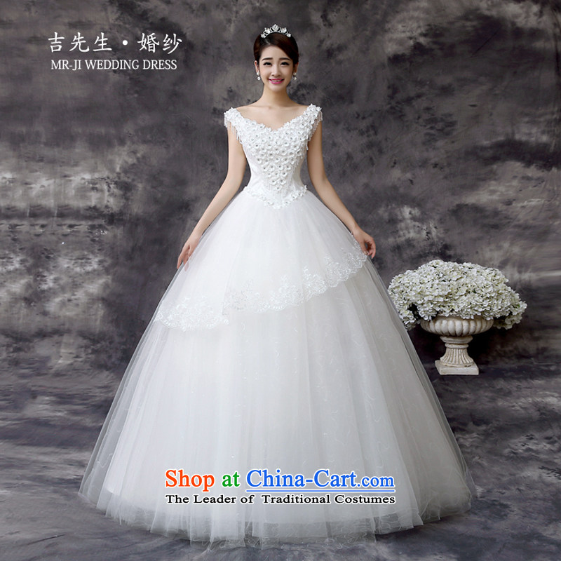 Mr.?Spring and Autumn 2015 new Korean sweet flowers V-Neck Princess high large waist video thin petticoats wedding White?XL