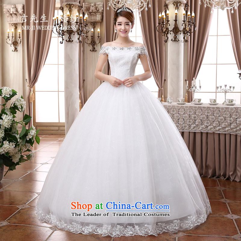 Mr. Guiss�2015 new stylish and elegant one shoulder higher field waist luxury lace diamond jewelry bon bon skirt wedding White�XL