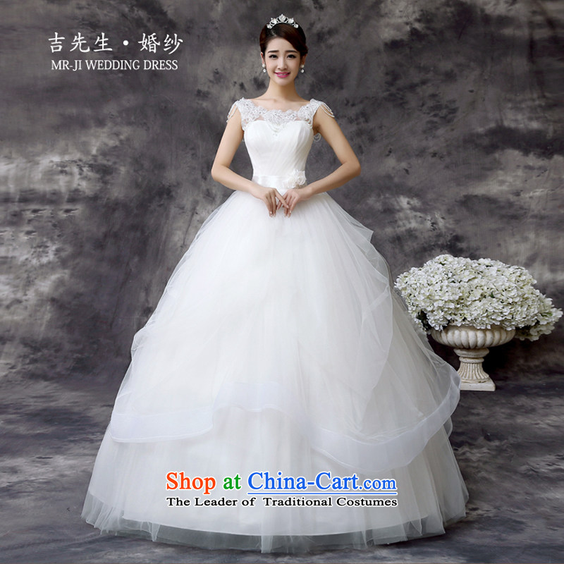 Mr. Guiss��?2015 new stylish decorated Pearl Luxury embroidered shoulders straps and bon bon skirt wedding white customization